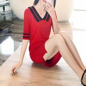 2019夏季新款休閒針織衫女中長款五分袖薄款上衣寬鬆顯瘦連身裙潮