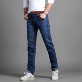 新款春夏季男士青年休閒藍色牛仔褲修身直筒褲彈力寬鬆薄款長褲子「艾瑞斯居家生活」