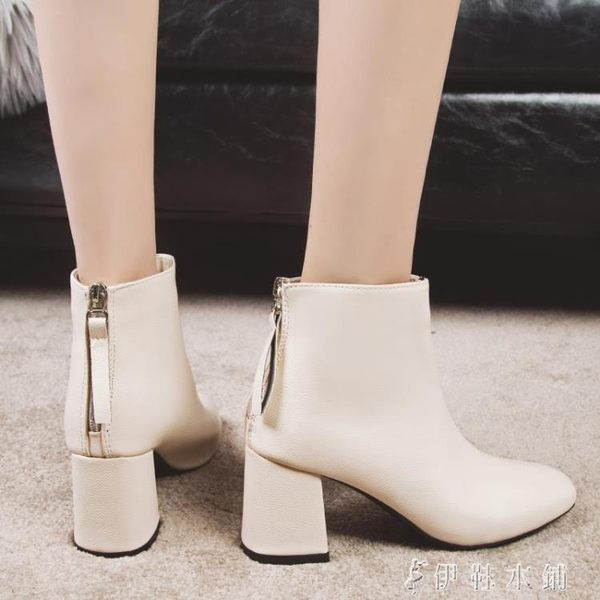 馬丁靴女英倫風高跟短靴粗跟鞋子ins學生短筒靴子 伊鞋本鋪