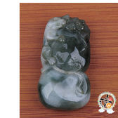 葫蘆 (油青玉佩) 墜飾  +平安加持小佛卡  【 十方佛教文物】