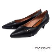 Tino Bellini金屬線條點睛尖楦中低跟鞋_黑 TF8564
