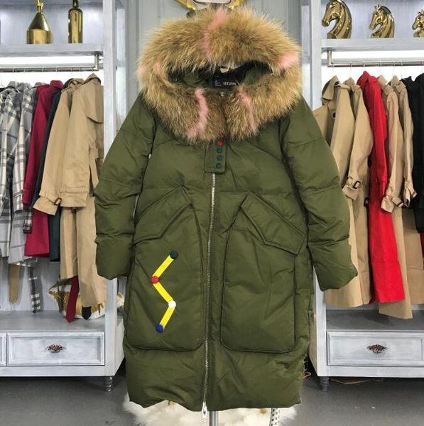 羽絨棉服長版品牌羽絨服女中長款正韓2018新款寬鬆超大毛領加厚外套潮