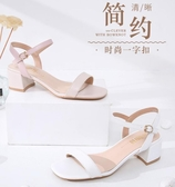 涼鞋女簡約粗跟中粗跟平頭溫柔