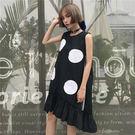 夏季新款時尚甜美寬鬆大圓點波點無袖荷葉下擺連身裙 (黑  白)二色售 11850059