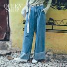 Queen Shop【04120029】基本百搭打摺高腰牛仔褲附腰帶 S/M/L*現+預*