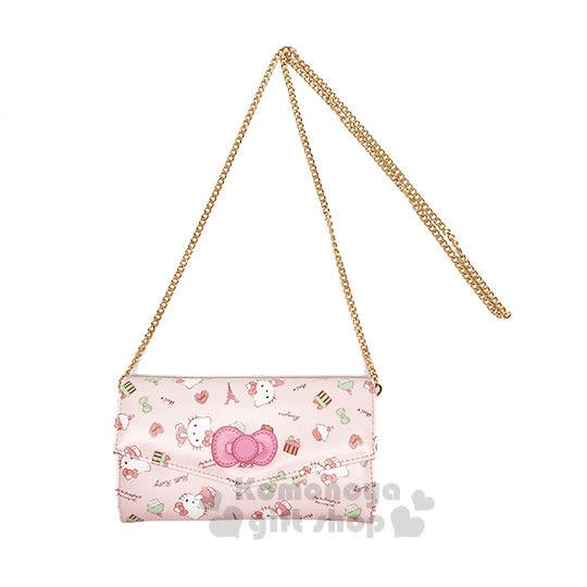 〔小禮堂﹞Hello Kitty 皮革扣式長夾斜背包《粉.蝴蝶結.鐵塔》手拿包.皮夾.法式午後系列 4719585-00633