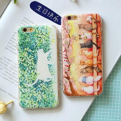iPhone手機殼 綠蔭賞櫻貓咪 浮雕軟殼 蘋果iPhone7/iPhone6/iPhone5手機殼