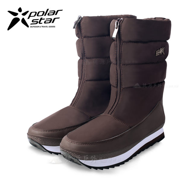 PolarStar 女 保暖雪鞋│雪靴│冰爪『咖啡』 P16628 (內厚鋪毛/ 防滑鞋底) 雪地靴.雪地必備