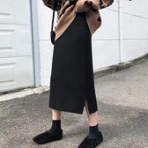 針織半身長裙 【兩邊小開叉】加厚!超質感小心機針織半身裙A字中長裙女半裙 寶貝計畫
