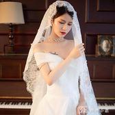 頭紗 《魅月》秋新款復古新娘結婚紗頭紗蕾絲花邊高端旅拍超長頭紗 娜娜小屋