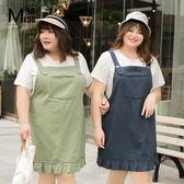Miss38-(現貨)【A03260】大尺碼吊帶裙 純色休閒 荷葉邊下擺 斜紋棉牛仔背帶裙 背心裙 -中大尺碼女裝