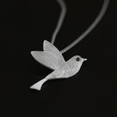 項鍊 925純銀寶石吊墜-清新小鳥生日聖誕節交換禮物女飾品2色73gm52[時尚巴黎]
