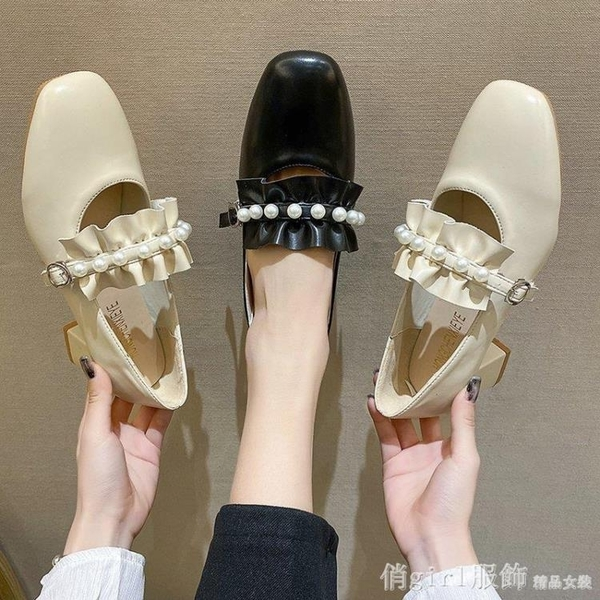 樂福鞋 復古瑪麗珍高跟鞋女2021年新款春季晚晚風溫柔鞋粗跟單鞋女樂福鞋 開春特惠