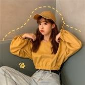 連帽衛衣2020新款女網紅款寬鬆百搭收腰短款露臍V領長袖上衣外套 貝芙莉