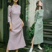 秋天旗袍長款長袖民國風女裝茶服改良少女甜美年輕洋裝連身裙