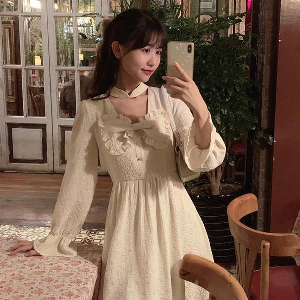 長袖洋裝仙女裙子春季日系軟妹可愛蝴蝶結荷葉邊大裙擺連衣裙學《朵拉朵》