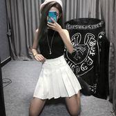 2018夏季新款百褶裙春秋半身裙時尚牛仔港味高腰ins仙女裙子短裙gogo購