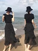 套裝 0070#S-XXL半身裙女高腰顯瘦中長款蛋糕裙荷葉邊長裙1F151-A韓依紡