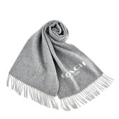 美國正品 COACH 雙面用羊毛流蘇圍巾-灰色/白色【現貨】
