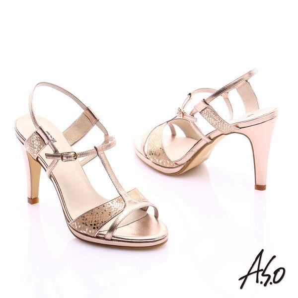 A.S.O 璀璨注目 金箔真皮T字帶高跟涼鞋  金