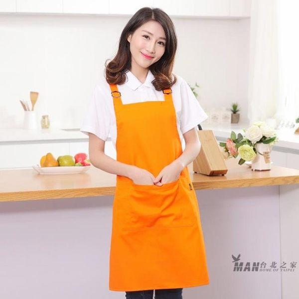 圍裙正韓時尚棉質廚房廚師奶茶咖啡店美甲防水工作服 七夕禮物