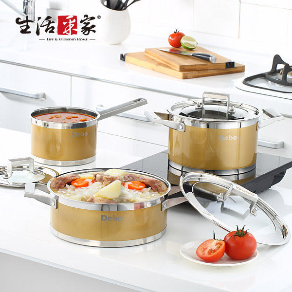 不鏽鋼三鍋組 17/21/25cm 生活采家 時代金 廚房料理 奶鍋煎鍋湯鍋#17012
