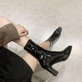 裸靴 短靴女粗跟秋冬單靴2021冬新款方頭高跟鞋裸靴彈力瘦瘦靴顯瘦中跟 寶貝計畫