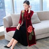 改良版老上海旗袍外套新款女秋冬媽媽裝復古開衫大碼洋裝女 聖誕節全館免運