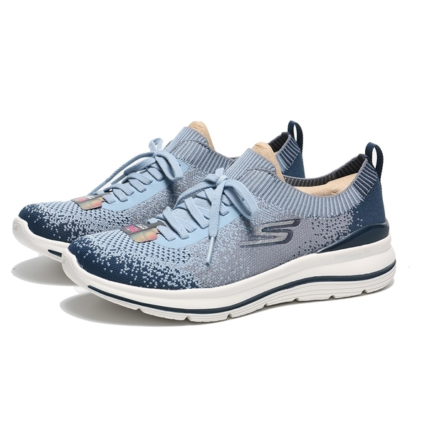 SKECHERS 休閒鞋 GO WALK STRETCH FIT 灰藍 編織襪套 女(布魯克林) 124384NVBL