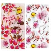 小禮堂 迪士尼 米妮 日製 口罩夾 收納夾 口罩套 口罩收納 抗菌加工 (粉黃 花朵) 4543479-15147