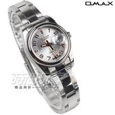 OMAX 時尚城市圓錶 玫瑰金色 不銹鋼帶 藍寶石水晶 女錶 日期視窗 OM4101白玫小