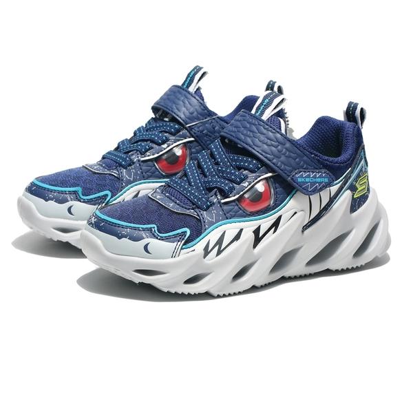 SKECHERS 慢跑鞋 SHARJ BOTS 深藍 鯊魚 休閒鞋 中童 (布魯克林) 402112LNVY