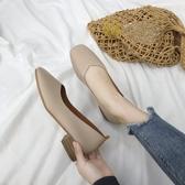 瑪麗珍鞋單鞋女2020春季新款韓版粗跟方頭復古奶奶鞋淺口百搭中跟瑪麗珍鞋 JUST M