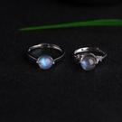 天然巴西藍月光拉長石轉運珠戒指925純銀...