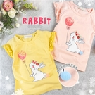 氣球 花漾萌兔落肩短袖上衣-2色(310...