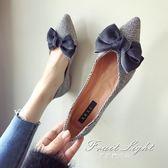 千鳥格蝴蝶結布面淺口尖頭平底女鞋單鞋女生美鞋 果果輕時尚