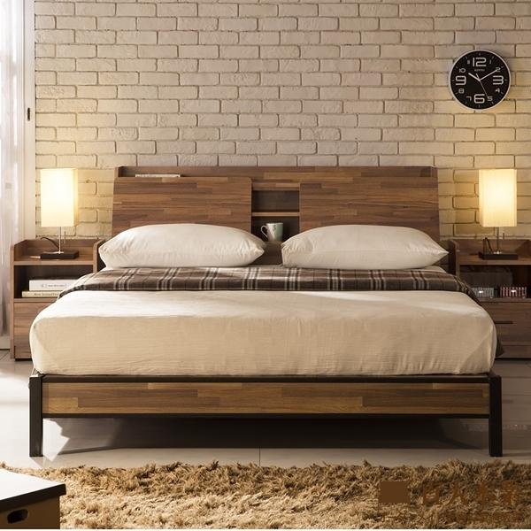 日本直人木業-Industrial工業風立式5尺雙人收納床組