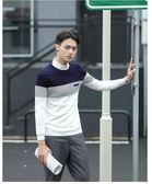 韓版男裝毛衣男秋季新款青少年拼接套頭男士修身針織衫6261#     東川崎町