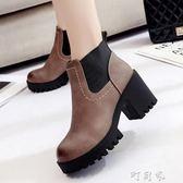 秋靴子女短靴粗跟高跟鞋子女加絨切爾西靴英倫風女鞋 盯目家