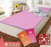 床墊 日本大和 抗菌 防蟎 透氣 5cm 床墊-單人-粉 KOTAS