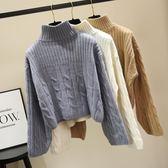 加厚半高領短款毛衣女寬鬆套頭秋冬季韓版學生慵懶風打底針織衫潮