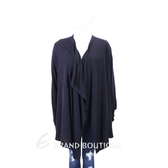 TRUSSARDI 深藍色不規則邊針織外套 1720305-34