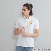 【GIORDANO】男裝勝利獅王漸層刺繡彈力萊卡POLO衫 - 95 標誌白