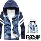 牛仔外套 Free Shop【QM9130】日韓街頭潮流刷色單寧拼接手臂條紋造型連帽牛仔外套 二色
