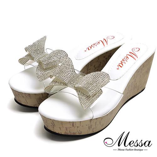 【Messa米莎專櫃女鞋】MIT閃亮蝴蝶結厚底涼拖鞋-白色