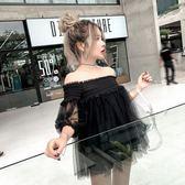 ❤Princess x Shop❤夏季新款韓版一字領露肩寬鬆網紗 雪紡上衣ONEDT808051正韓國連線吊帶褲洋裝