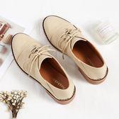 秋鞋女韓版百搭平底復古仙女鞋中跟粗跟小皮鞋秋季單鞋女『櫻花小屋』