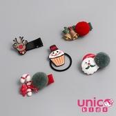UNICO 兒童聖誕棒棒糖糜鹿鈴鐺杯子雪人全包布髮夾髮圈-5入組