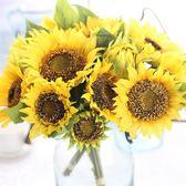 【全館】現折200向日葵仿真太陽花束手拿道具吊籃植物陽臺盆栽套裝花卉假花裝飾花