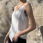 背心雪紡吊帶背心女秋夏新款V領外穿雙層打底衫內搭百搭寬鬆顯瘦上衣 衣間迷你屋